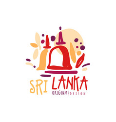Travel to sri lanka logo or label design vector