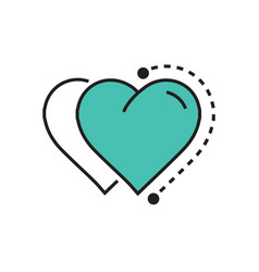 Two heart icon dots style green vector