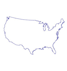 usa map thinline outline vector image