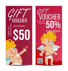 Valentine s day gift voucher vertical vector