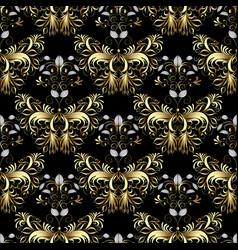 vintage gold butterflies seamless pattern vector image