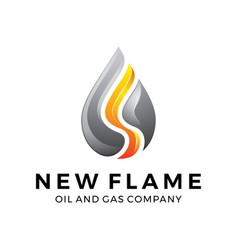 water gas oil flame logo design vector image