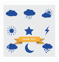weather icon set flat style vector image