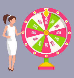 Win jackpot lady spinning roulette casino vector