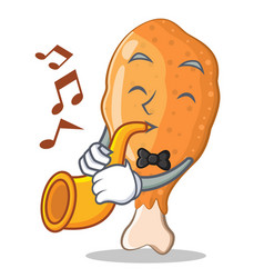 With trumpet fried chicken character cartoon vector