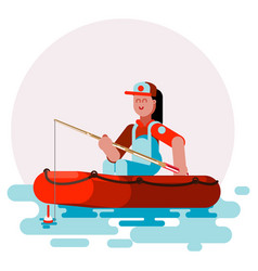 Woman in boat try to cach a fish vector