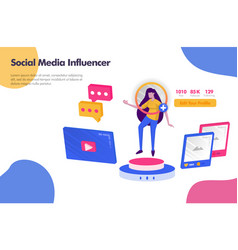 working as social media influencer concept modern vector image