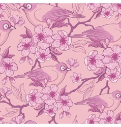 Birds among sakura flowers seamless pattern vector image