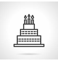 Cake with candles black line design icon vector image vector image