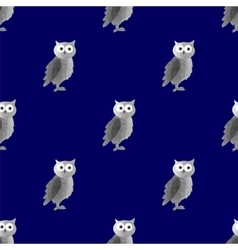 Dark Polygonal Owl Seamless Pattern vector image vector image