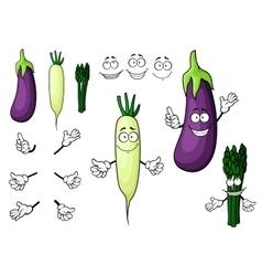 Eggplant white radish asparagus vegetables vector image vector image