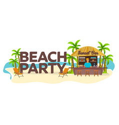 beach party travel palm drink summer lounge vector image