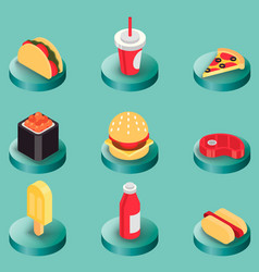 fast food color isometric icons vector image