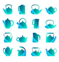 silhouettes stylized flat logo teapot set isolated vector image