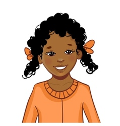 Teenager african american girl with curly hair vector