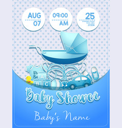 baby shower boy invitation template with toys vector image