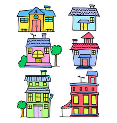 collection stock of house colorful cartoon vector image