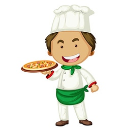 Male chef serving pizza vector image vector image