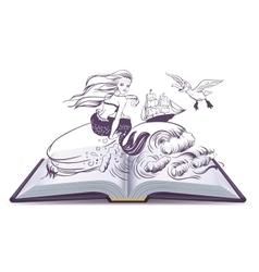Open book Tale of Mermaid Reading develops vector image vector image