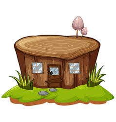 stump tree with door and windows vector image vector image