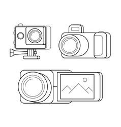 videocamera gopro and digital photocamera vector image vector image