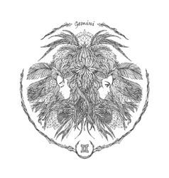 zodiac sign portrait of a woman gemini vector image