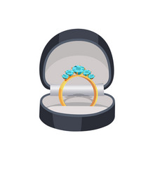 gold ring with blue diamonds in box vector image vector image