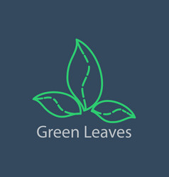 green leaves outline logo linear vector image