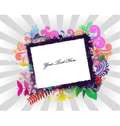 grunge frame with rays background vector image