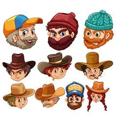 Human head wearing hats vector image