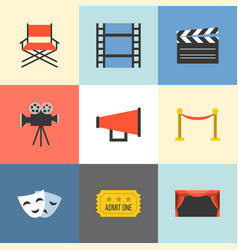 movie icons set flat design vector image