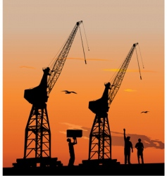 silhouette of harbour cranes vector image vector image