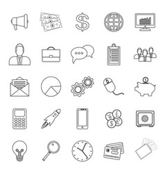 25 business icon set outline vector image