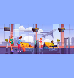 airport terminal with waiting people and luggage vector image