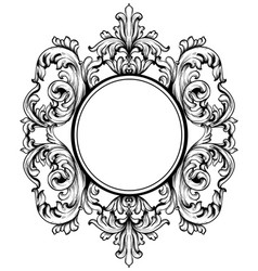 Baroque frame with intricate ornament decor vector