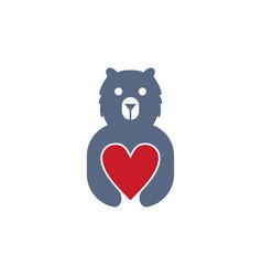 bear love logo vector image