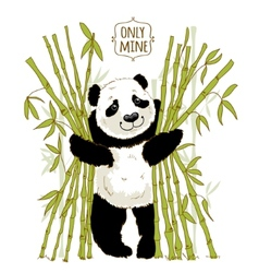 Big panda owns his bamboo vector image