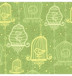 Birds in cages seamless pattern background vector image