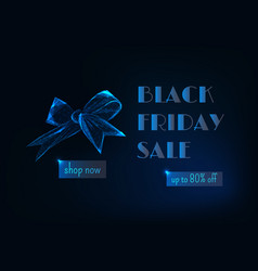 Black friday sale banner with glowing low poly vector