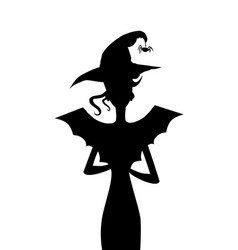 black silhouette of slim witch with bat wings vector image