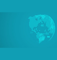 blue abstract global dot map background radial vector image