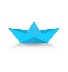 blue paper boat with shadow vector image