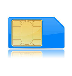 Blue sim card vector