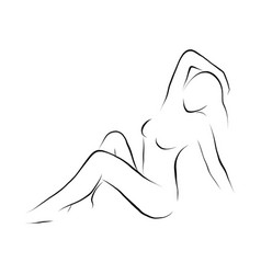Body of a woman drawn with simple lines vector