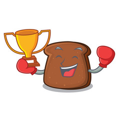 boxing winner brown bread mascot cartoon vector image