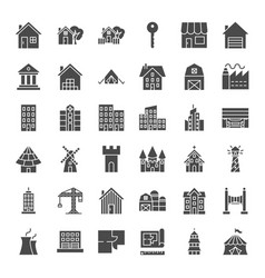 building solid web icons vector image