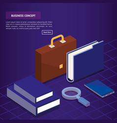 Business concept isometric set icons vector