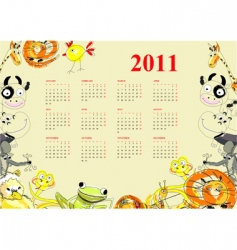 calendar with animals for 2011 vector image