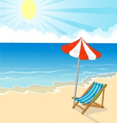 Cartoon Beach chair and umbrella on tropical beach vector image