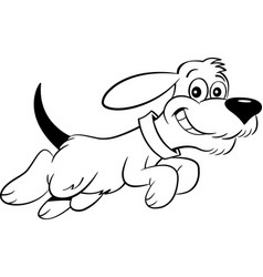 Cartoon dog leaping vector